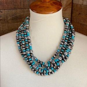 Silver Turquoise Chunky Boho Cowgirl Nexklace